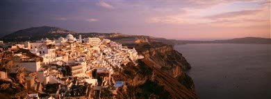 Antena View de town, Santorini, Grecia Póster panorámico ...