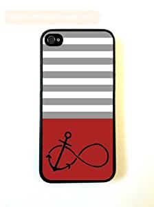 Anchored-Forever Red & Grey Stripes Black iPhone 5 Case - For iPhone 5/5G - Designer PC Case