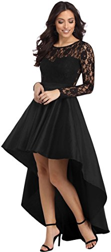 Joansam Spring New Fashion Women Long Sleeve Lace High Low Satin Formal Dress Black Sexy Asymmetrical Evening Party Dresses JS61910B-S (Asymmetrical Satin)