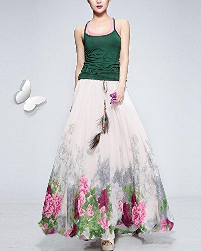 Mujeres faldas largas elegantes Bohemio pluma de pavo real playa Fiesta partido maxi Falda plisada Morado