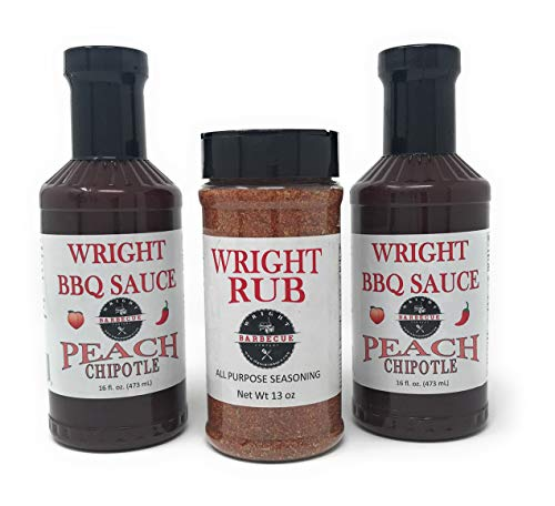 Wright BBQ Company - Peach Chipotle Barbecue Sauce (Two 16 Ounce Bottles) and All Purpose Seasoning (One 13 Ounce Bottle) 3 Items Total -