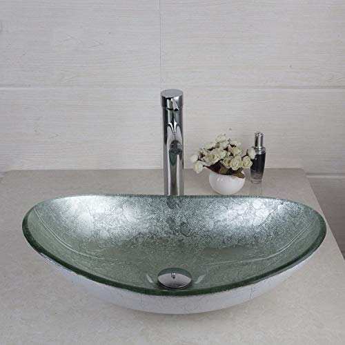 FidgetFidget AS Oval Silver Glass Bathroom Vessel Sink Bowl Brass Mixer Water Taps Faucet Set