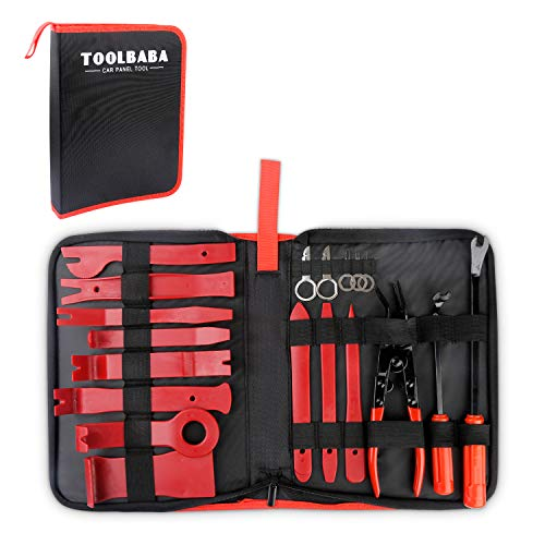TOOLBABA Car Panel Removal Tools Kit -19pcs Trim Removal Tool Set Nylon for Car Panel Dash Audio Radio Removal Installer and Repair Pry Tool Kits with Storage Bag by TOOLBABA