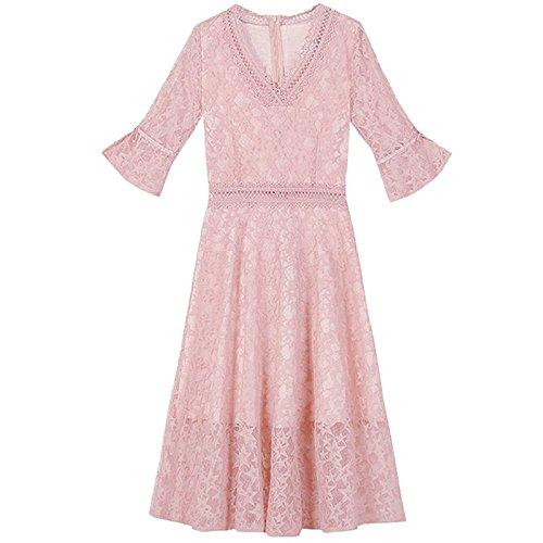 Manchon Moyenne Abricot fe Robes Femme M MiGMV V Jupe Couleur Une Mot Trompette Culture Robe rtro Longueur HBTxwzq