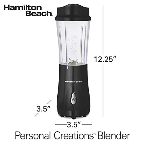 Hamilton Beach Personal Blender for Shakes and Smoothies with 14oz Travel Cup and Lid Black 51101AV