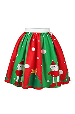 Meenew Women's Elastic Flared Pleated Skater Christmas Printed Party Skirt