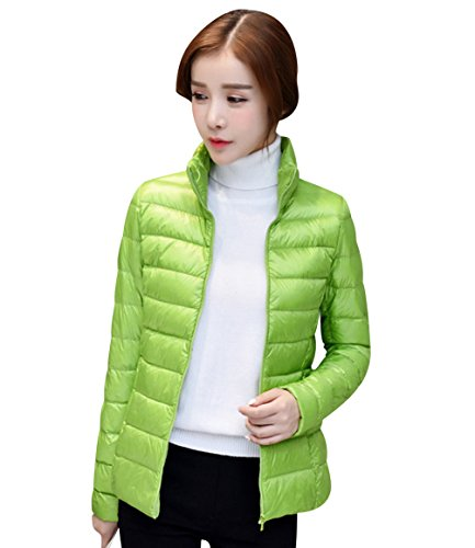 Green Puffa Bubble Coat Stand Jackets Women's Quilted Overcoat Womens Puffer Women Down Coats Packable Down Parka Jacket Outwear Winter Collar Padded Coat Lightweight ISSHE Ladies qSEAaxf