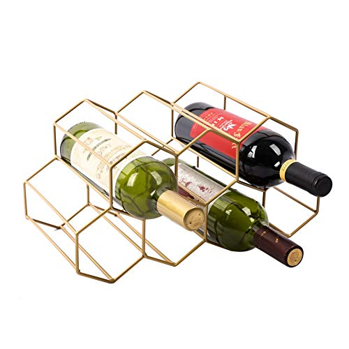 Urban Deco Wine Rack Freestanding Wine Racks Cabinets Bottle Holder Countertop Storage Metal Brushed Gold Geometric Design for Red White Wine (Gold Wine Rack)