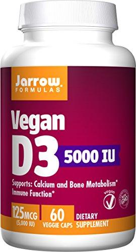 Jarrow Formulas Vegan Vitamin D3 Calcium and Bone Metabolism, 125 mcg (5000 IU) Veggie Caps, 60 Count