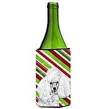 Caroline's Treasures SC9797LITERK White Toy Poodle Candy Cane Christmas Wine Bottle Koozie Hugger, 750 mL, Multicolor