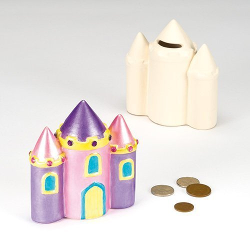 (Ceramic Castle Coin Banks with Removable Stopper for Children to Paint and Decorate (Pack of 2))