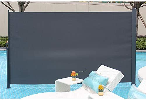 Knocbel Patio Retractable Folding Side Awning All-Weather Privacy Divider Dark Gray 118 x 63