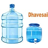 Dhavesai Premium Quality Plastic Water Jar and Water Dispenser Bottle - Blue Color