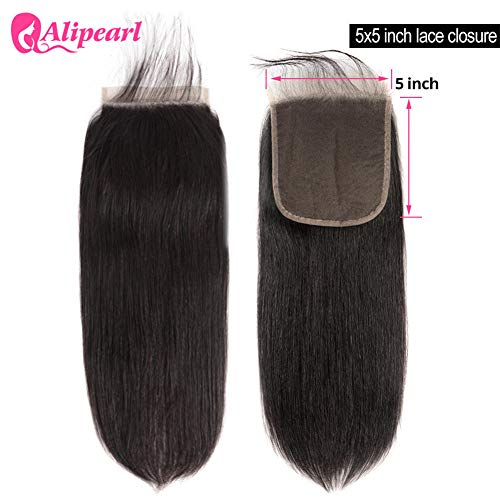 - Preplucked 5X5 Lace Closure Brazilian Straight Human Hair Closure With Baby Hair Free Part Swiss Lace Remy Natural Color AliPearl Hair (5x5closure 16