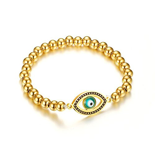 OMZBM Evil Eye Round Beaded Bracelet Gold Plated Charm Stainless Steel Stretch Wristband Jewelry for Women and Girl 6Mm