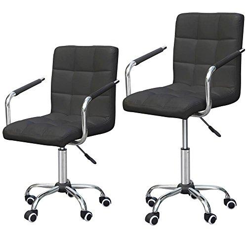 Go2buy Rolling Black Modern Ergonomic Swivel Leather Office Chairs