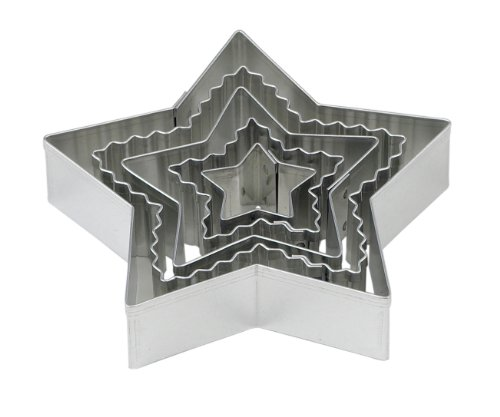 Mrs. Anderson's Baking Crinkle Cookie and Fondant Cutters, Star-Shaped, 5-Piece Graduated Cutters