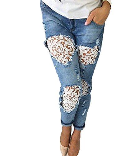 Slim dentelle WanYang Pantalons Dlav t Jeans Collants Crayon Haute Trous Dcontracte Femme Fit Taille Bleu 45q75xAw