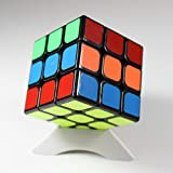 Elloapic Black Version 2 YJ Moyu Weilong Plus 3x3x3 Speed Magic Cube WeiLong V2 Puzzle Smooth Cube + one cube stand