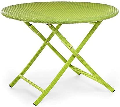 Plow Hearth 39014-LIM Colorful Wicker Folding Bistro Table, Lime Green