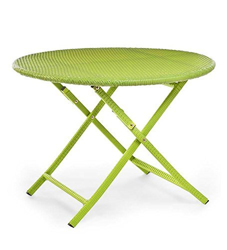 Plow & Hearth 39014-LIM Colorful Wicker Folding Bistro Table, Lime Green