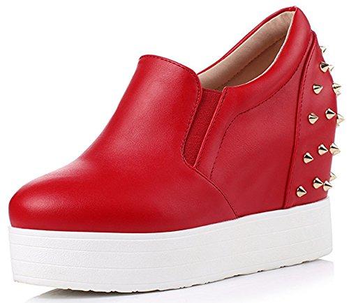 Idifu Womens Sneakers Zeppa Con Zeppa Con Plateau E Scarpe Basse Rosse