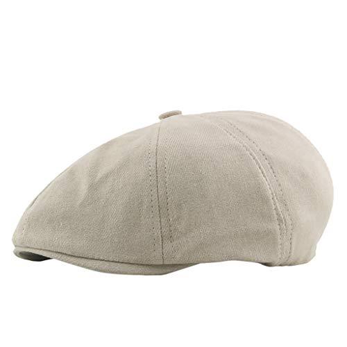 Unisex Cotton Newsboy Beret Hat,Crytech Breathable Plain Flat Ivy Gatsby Caps Vintage Classic Solid Color 8 Pannel Retro Cabbie Octagonal Golf Driving Hat for Women Men (Beige)