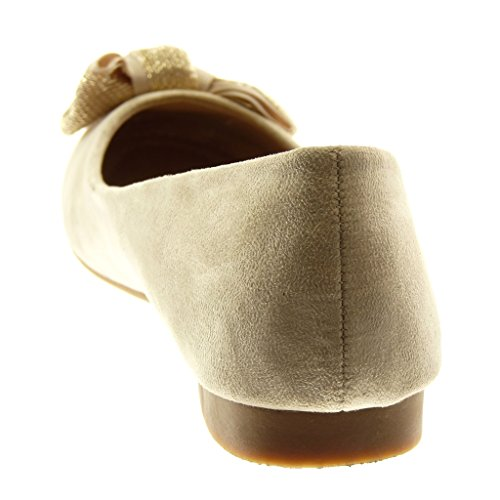Angkorly Damen Schuhe Ballerina - Slip-On - Knoten - Golden Blockabsatz 1.5 cm Beige