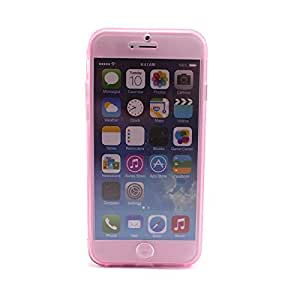 """HuntGold Soft Silicone Flip Cover Case Skin Protector for iPhone 6 4.7""""(pink)"""