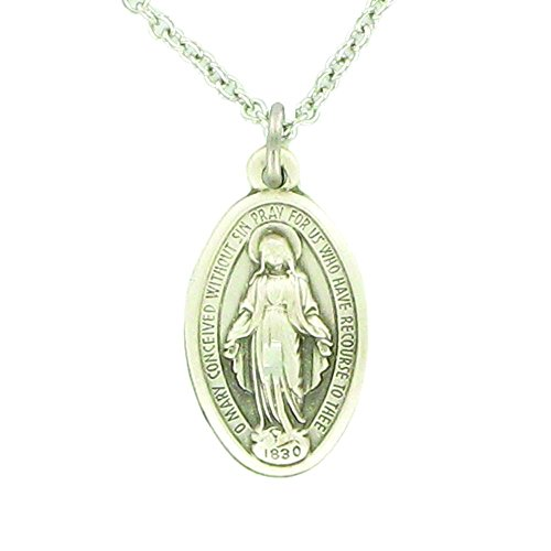 TrueFaithJewelry Sterling Silver Engraved Oval Our Lady of Grace Miraculous Medal, 3/4 Inch