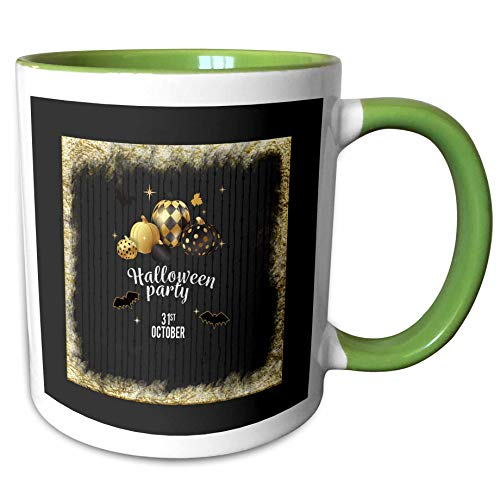 3dRose Beverly Turner Halloween Design - Designer Pumpkins, Leaves, and Bats, Halloween Party, October 31, Gold - 15oz Two-Tone Green Mug (mug_300620_12) -