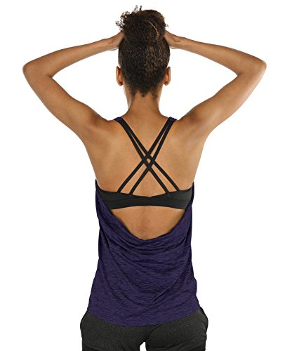 icyzone Workout Tank Tops Built in Bra - Women's Strappy Athletic Yoga Tops, Exercise Running Gym Shirts (S, Purple)