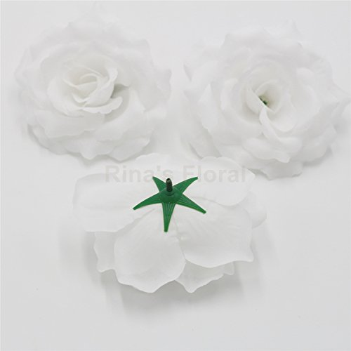 Silk Flowers Wholesale 100 Artificial Silk Rose Heads Bulk Flowers 10cm For Flower Wall Kissing Balls Wedding Supplies (White) ()