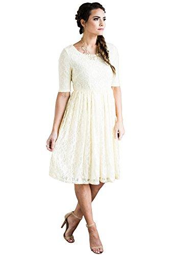 (Mikarose Emmy Modest Dress in Cream Lace, Modest Bridesmaid Dress or Semi-Formal Dress - M)