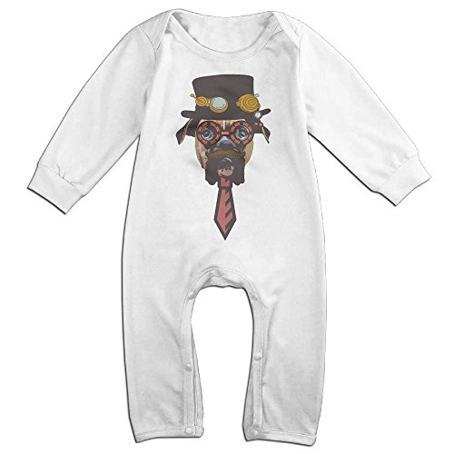 Baby Infant Romper Steampunk Dog Long Sleeve Jumpsuit Costume White 24 Months (Steampunk Snow White Costume)