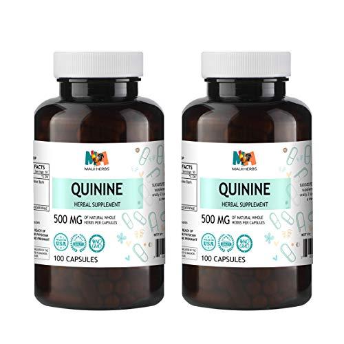 Quinine Capsules, 500 mg, Quinine Bark (Cinchona officinalis) (2×100 Capsules)