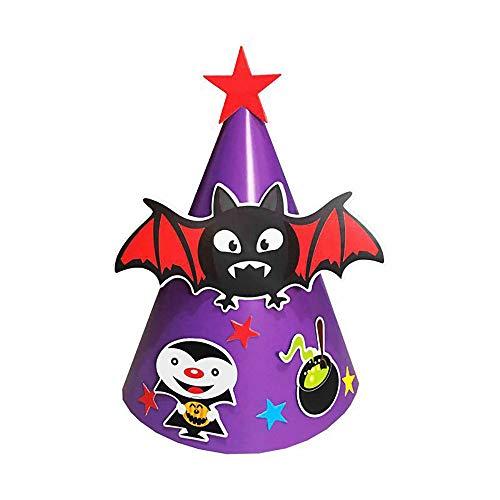 Lmtime DIY Halloween Paper Cartoon Cap Child Child Halloween Ornament Hatn Bat Pumpkin Hat (Purple F)]()
