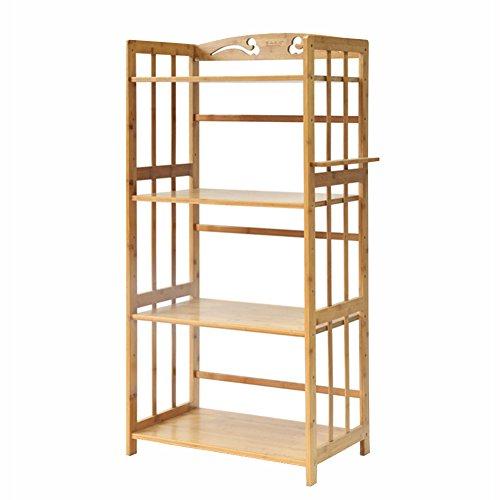 Estantes y soportes para ollas y sartenes HWF 4-Tier Kitchen Microondas Horno Rack Bamboo Wood Floor Display Display Holder Estante Soporte Organizador ...