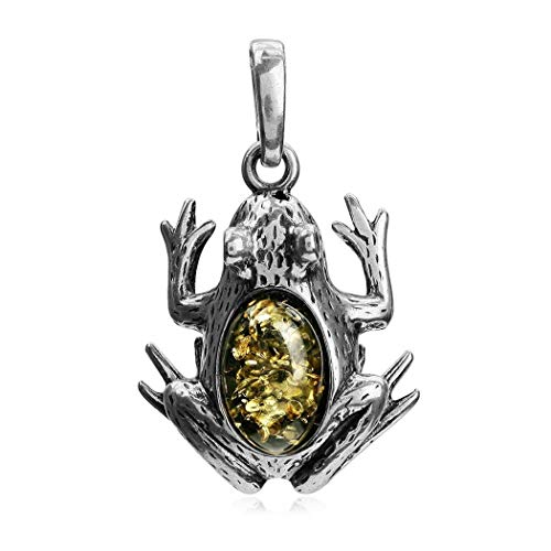 Green Amber Sterling Silver Frog Pendant