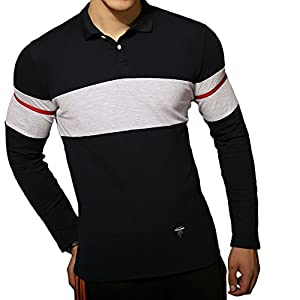 LOGEEYAR Men's Casual Classic Fit Long Sleeve Color Block Cotton Polo Shirt