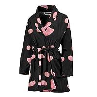 Pink Paws Print Women's Bath Robe