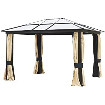 Outsunny 12 X 10 Outdoor Patio Canopy Party Gazebo W Mesh And Curtains