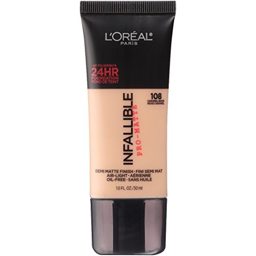 L'Oreal Paris Makeup Infallible Pro-Matte Foundation, air-light, oil-free formula resists sweat and humidity, hides imperfections, demi-matte finish for up to 24hr wear, 108 Caramel Beige, 1 fl. oz.