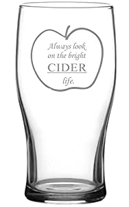 """""""Always look on the bright cider life"""" Tulip Cider Glass"""