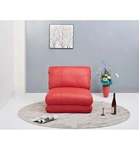 Puff cama en color rojo tapizado en piel textil.