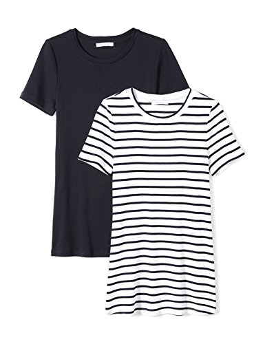 Amazon Brand - Daily Ritual Women's Midweight 100% Supima Cotton Rib Knit Short-Sleeve Crew Neck T-Shirt, 2-Pack, Navy-White Stripe/Navy, Medium