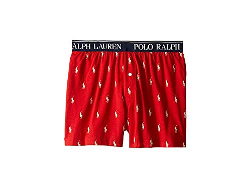 (Polo Ralph Lauren Men's Cotton Modal Exposed Waistband Boxer Rl2000 Red/Nevis Aopp Small)
