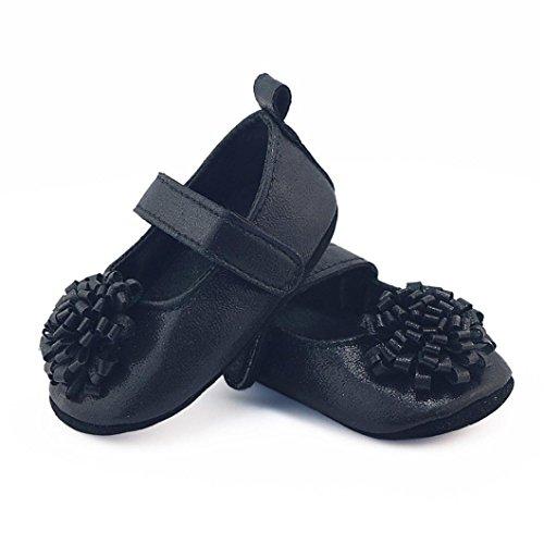 Lauflernschuhe,Chshe Das Neugeborene Mädchen Blume Krippe Schuhe Weichen Sohle Rutschfeste Schuhe Schwarz