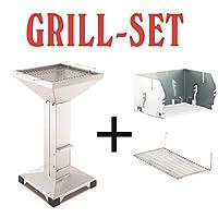 Säulengrill Thüros Basic Set Grill-Set silber XL Pillar Camping Balkon ✔ eckig ✔ stehend grillen ✔ Grillen mit Holzkohle