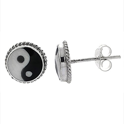 Sterling Silver yang Stud Earrings